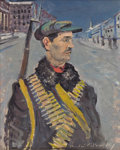 Fine Art - Painting, American:Modern  (1900 1949)  , NICOLAI CIKOVSKY (Russian/American, 1894-1987). RevolutionarySoldier. Oil on panel. 14-7/8 x 11-3/4 inches (37.8 x 29.8...