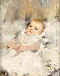 Fine Art - Painting, American:Antique  (Pre 1900), JAMES JEBUSA SHANNON (British/American, 1862-1923). Baby in aRuffled Dress, 1886. Oil on canvas. 20 x 16 inches (50.8 x...