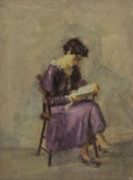 Fine Art - Painting, American:Antique  (Pre 1900), Attributed to SUSAN MACDOWELL EAKINS (American, 1851-1938). Girlin a Purple Dress, circa 1890. Oil on canvas board. 16 ...