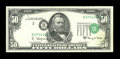 Error Notes:Shifted Third Printing, Fr. 2113-B $50 1963A Federal Reserve Note. About Uncirculated....