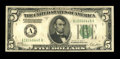 Error Notes:Inverted Reverses, Fr. 1952-A $5 1928B Federal Reserve Note. Fine-Very Fine....