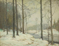 FRANK W. LOVEN (American, 1868-1941) Forest in March, 1915 Oil on canvas 16 x 20 inches (40.6 x 5