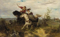 Fine Art - Painting, European:Antique  (Pre 1900), WILHELM CARL RAUBER (German, 1849-1926). The Hunt. Oil onwood panel. 17-1/2 x 27 inches (44.5 x 68.6 cm). Signed lower ...