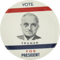 "Political:Pinback Buttons (1896-present), Harry S. Truman: Gorgeous and Rare 3½"" Design by PhiladelphiaBadge...."