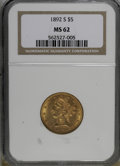 Liberty Half Eagles, 1892-S $5 MS62 NGC. NGC Census: (52/11). PCGS Population (56/27).Mintage: 298,400. Numismedia Wsl. Price for NGC/PCGS coin...