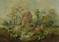 Fine Art - Painting, American:Modern  (1900 1949)  , PRIMITIVE AMERICAN SCHOOL (20th Century). Watermill Along theRiver. Oil on canvas. 25-1/2 x 36-1/4 inches (64.8 x 92.1 ...
