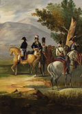 Fine Art - Painting, European:Antique  (Pre 1900), CONTINENTAL SCHOOL (Late 19th Century). Napoleon Leading his Meninto Battle. Oil on canvas. 36 x 28-1/2 inches (91.4 x ...