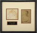 Boxing Collectibles:Autographs, 1930 Jim Corbett Cut Signature Display. The boxing legend GentlemanJim Corbett is best-known for his defeat of then-heavyw...