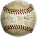 Autographs:Baseballs, Monty Stratton Single Signed Baseball. Monty Stratton posted 15wins in each of his final two seasons of his major league c...