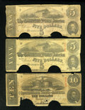 Confederate Notes:1862 Issues, T53 $5 1862. T59 $10 1863. T60 $5 1863.. ... (Total: 3 notes)