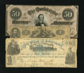 Confederate Notes:1862 Issues, T42 $2 1862 Good-VG. T66 $50 1864 XF+.. ... (Total: 3 notes)