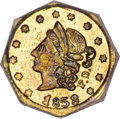 California Fractional Gold, 1853 50C Peacock Reverse 50 Cents, BG-302, Low R.4, MS62 PCGS....