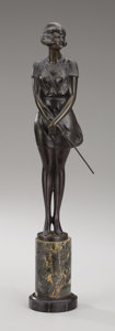 Bronze:European, BRUNO ZACH (German, 1891-1935). Girl with Whip. Bronze. Signed verso: Bruno Zach. Stamped verso: Made in Austria...