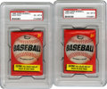 Baseball Collectibles:Others, 1966 Topps Unopened Wax Packs, PSA EX-MT 6 Group Lot of 2. Cardnumbers 1 through 109 are possible in this high-grade wax, s...