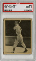Baseball Cards:Singles (1930-1939), 1939 Play Ball Ted Williams #92 PSA Good 2. Thrilling for anyserious collector of vintage cardboard, this #92 entry from t...