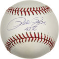 "Autographs:Baseballs, Pete Rose ""4256"" Single Signed Baseball. By the time his amazingcareer in baseball was finally complete, Pete Rose had rac..."