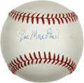 Autographs:Baseballs, Lee MacPhail Single Signed Baseball. Nifty sweet spot signature comes to us here courtesy of the Hall of Fame executive Lee...