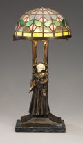 Lighting:Lamps, AN ART NOUVEAU BRONZE AND IVORY TABLE LAMP. Peter Tereszczuk (Ukrainian, 1875-1963), active Vienna 1895-1925. Marks: P. Te...
