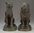 Sculpture, ISIDORE JULES BONHEUR (French, 1827-1901). Lioness and Lion, Late 19th Century. Bronze. Signed on base: I. BONHEU... (Total: 2 Items)