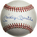 Autographs:Baseballs, Mickey Mantle Single Signed Baseball. Nice example of the greatMickey Mantle's sweet spot signature comes to us here on an...
