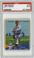 Baseball Cards:Singles (1930-1939), 1934 Goudey Lefty Grove #19 PSA EX 5. Hall of Fame hurler LeftyGrove just barely became a member of the elusive 300-win cl...
