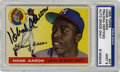 Autographs:Sports Cards, 1955 Signed Topps Hank Aaron #47 PSA Mint 9. Excellent example ofHammerin' Hank's second-year card from Topps' includes Aa...