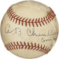 Autographs:Baseballs, Happy Chandler Single Signed Baseball with Inscription. Importantbaseball exec Happy Chandler has applied a booming exempl...