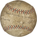 Autographs:Baseballs, Vintage Multi-Signed Baseball with Heinie Manush and ClarkGriffith. Vintage OAL (Harridge) orb with the red and bluestitch...