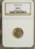 Roosevelt Dimes: , 1963-D 10C MS66 NGC. NGC Census: (466/138). PCGS Population(856/55). Mintage: 421,476,544. Numismedia Wsl. Price for NGC/P...