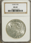 Peace Dollars: , 1928-S $1 MS60 NGC. NGC Census: (26/3067). PCGS Population(37/4233). Mintage: 1,632,000. Numismedia Wsl. Price for NGC/PCG...