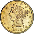 Liberty Half Eagles, 1855-S $5 AU58 PCGS....