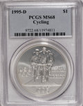Modern Issues: , 1995-D $1 Olympic/Cycling Silver Dollar MS68 PCGS. PCGS Population(42/697). NGC Census: (7/479). Numismedia Wsl. Price fo...