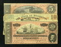 Confederate Notes:1864 Issues, T67 $20 1864 VF. T69 $5 1864 VF.. ... (Total: 3 notes)