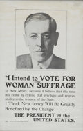 Political:Posters & Broadsides (1896-present), Woodrow Wilson: Great Pro-Suffrage Poster....