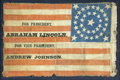 Political:Textile Display (pre-1896), Abraham Lincoln: Rare 1864 Campaign Flag....