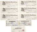 Autographs:Checks, 1939-41 Monty Stratton Signed Personal Checks Lot of 9. Fine collection of signed personal checks signed by the White Sox l...