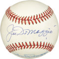 Autographs:Baseballs, Joe and Dom DiMaggio Dual-Signed Baseball. The AL rival DiMaggiobrothers matched up with one another often, as Joe's Yanke...