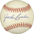 Autographs:Baseballs, Jocko Conlan Single Signed Baseball. Lightly toned Hall of Fame example from the Cooperstown-elected umpire Jocko Conlan. T...