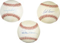 Autographs:Baseballs, Bob Lemon, Tug McGraw and Hal Newhouser Single Signed Baseballs Lotof 3. A pair of OAL (Brown) orbs featuring the Hall of ...
