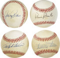 Autographs:Baseballs, Johnny Podres, Ralph Kiner, Minnie Minoso and Robin Roberts SingleSigned Baseballs Lot of 4. Each of the four toned offici...