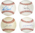 Autographs:Baseballs, Past Baseball Stars Single Signed Baseballs Lot of 4. A total offour singles here have each been signed by a former star p...