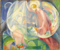 Fine Art - Painting, American:Modern  (1900 1949)  , ANGEL ZÁRRAGA (Mexican, 1886-1946). The Annunciation. Oil oncanvas. 21-1/4 x 25-3/4 inches (54.0 x 65.4 cm). Signed and...