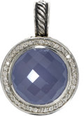 Estate Jewelry:Pendants and Lockets, Chalcedony, Diamond, Sterling Silver Pendant-Enhancer, David Yurman. The pendant features a faceted blue chalcedony caboch...