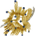 Estate Jewelry:Brooches - Pins, Sapphire, Diamond, Gold Brooch. The brooch features round-cutsapphires weighing a total of approximately 0.60 carat, acce...