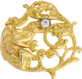 Estate Jewelry:Brooches - Pins, Diamond, Gold BroochThe griffin themed brooch is highlighted by aEuropean-cut diamond weighing approximately 0.20 carat, se...
