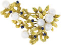 Estate Jewelry:Brooches - Pins, Cultured Pearl, Sapphire, Gold Brooch. The brooch features culturedpearls measuring approximately 6.50 - 6.00 mm, accente...
