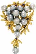Estate Jewelry:Boxes, Cultured Pearl, Sapphire, Gold Brooch. ...