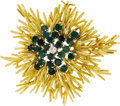 Estate Jewelry:Brooches - Pins, Emerald, Diamond, Gold Brooch. The brooch features a full-cut diamond weighing approximately 0.10 carat, enhanced by round...