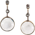 Estate Jewelry:Earrings, Antique Diamond, Moonstone, Silver-Topped Gold Earrings. Eachearring features one moonstone cabochon measuring 7.00 mm, s...