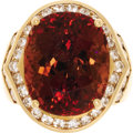 Estate Jewelry:Rings, Tourmaline, Diamond, Gold Ring. The ring features an oval-shaped tourmaline measuring 15.40 x 12.65 x 10.40 mm and weighin...